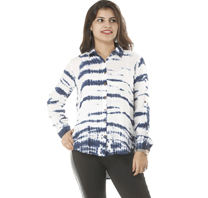 advik western top's for women's (white and blue)