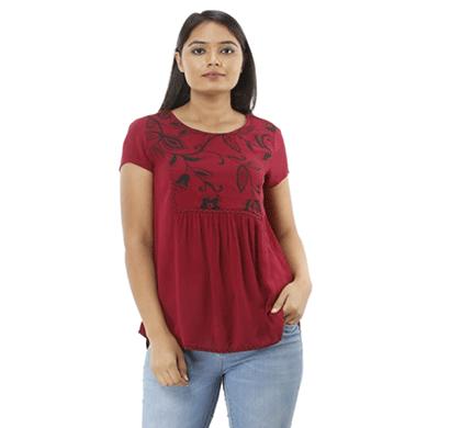 advik women's round neck printed top (maroon)