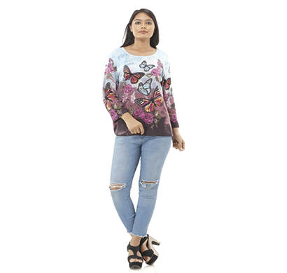 advik women's multicolor butterfly printed top