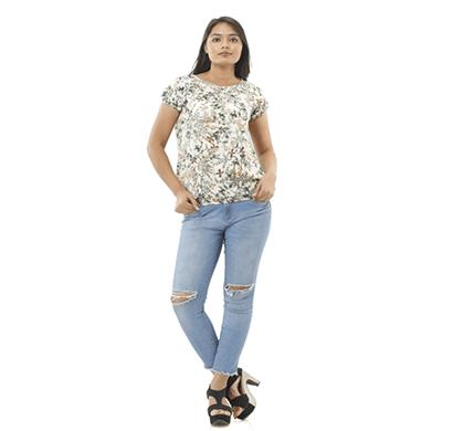 advik women's half sleeve printed top (white)
