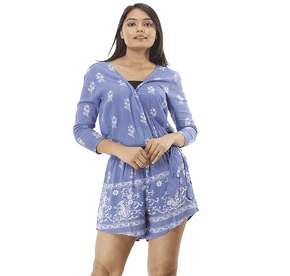 advik printed top for women's (sky blue)