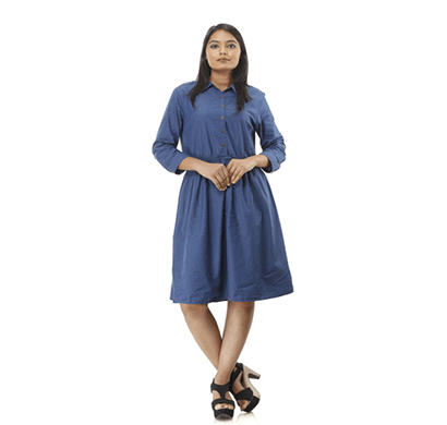 advik women's f/s collar printed top (navy blue)