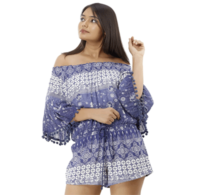 advik printed top for women (blue)