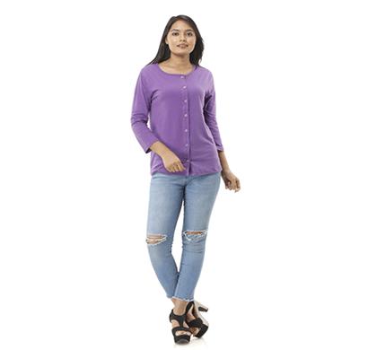 advik women's round neck plain top (purple)