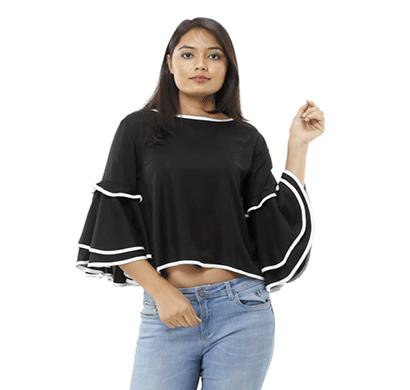 advik printed top for women (black)