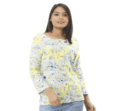 advik women's printed top yellow (multicolor)