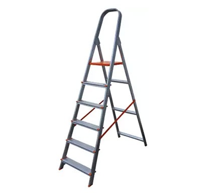 aguerri 6 step foldable aluminium ladder with platform for home use (silver)