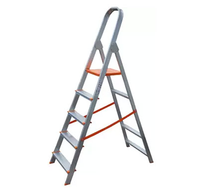 aguerri 5 step foldable aluminium ladder with platform for home use (silver)