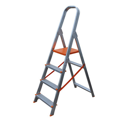aguerri 4 step foldable aluminium ladder with platform for home use (silver)