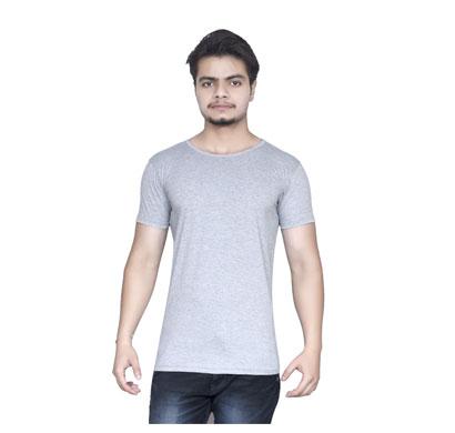 algrade men's round neck half sleeve t-shirt grey