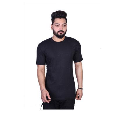 algrade men's cotton blend round neck half sleeve t-shirt black