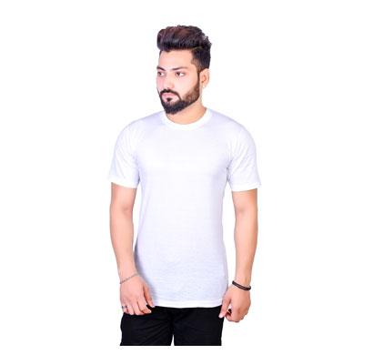 algrade men's cotton blend round neck half sleeve t-shirt white