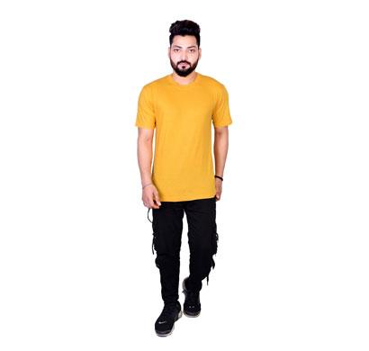 algrade men's cotton blend round neck half sleeve t-shirt mustard