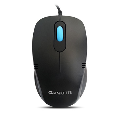 amkette kwik pro wired optical usb mouse with 3 button (black)