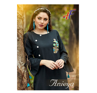 anieya ruby cotton slub with khatli work women kurti (multicolor)