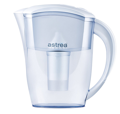 astrea compact pure non-electric home water purifier dispenser jug with filter - 2.5 liters - white