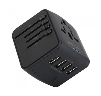 astrum ch390 universal travel adapter (black)