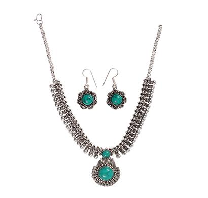 ballerina's (bsaojnes020) oxidized silver plated necklace earring set for women