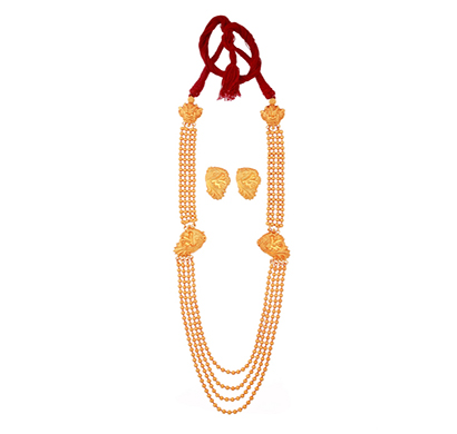 ballerina's (bsaojnes034) gold plated long necklace earing set for women