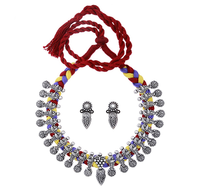 ballerina's (bsaojnes058) oxidized silver plated necklace earing set for women