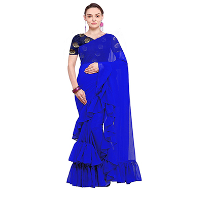 bhuwal woman stylish faxu georgette ruffle saree (blue)
