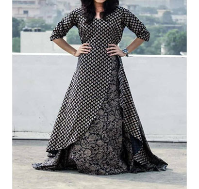 black cotton printed kurti with shrugs blkcpn-001 (black)