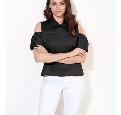 brover fashion collar & cold shoulder cotton linen top - black