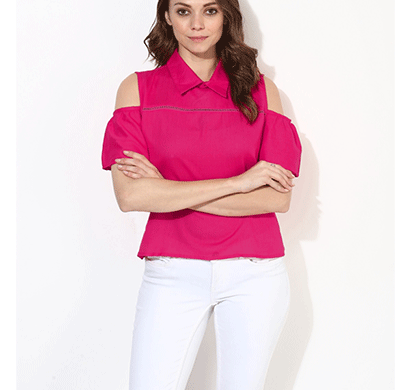 brover fashion collar & cold shoulder cotton linen top - magenta