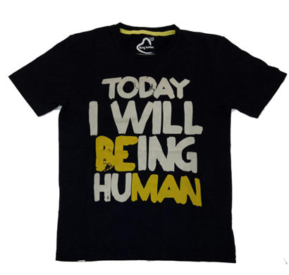being human round neck t-shirts black