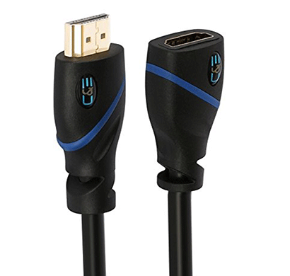 c&e high speed hdmi extension cable male to female, 20 feet, supports ethernet, 3d and audio return black