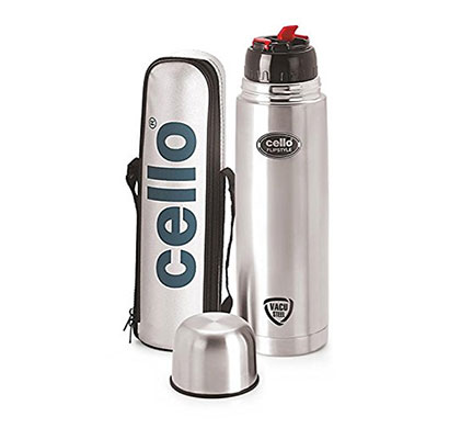 cello flip style stainless steel flask 1000 ml, silver colour
