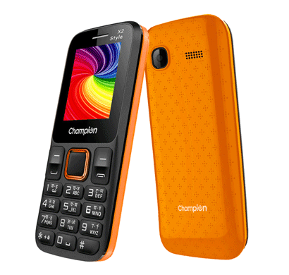 champion x2 style feature phone with powerful capacity orange & black