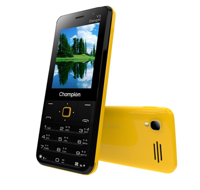 champion y3 dangal feature phone smart selfie camera with powerfull capacity - yellow