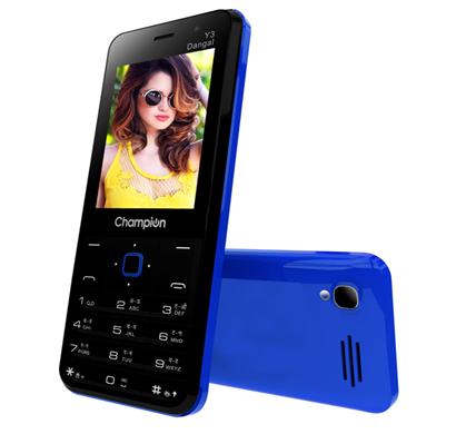 champion y3 dangal feature phone with powerfull capacity & smart selfie camera - blue & black