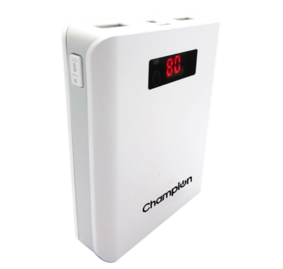 champion z-10 digital power bank 10400mah capacity (bis certified) - white & gray