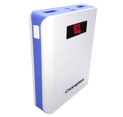 champion z-10 digital power bank 10400mah capacity (bis certified) - black & white