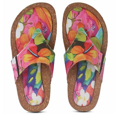 colour me mad printed natural cork women sandals (multi colour)