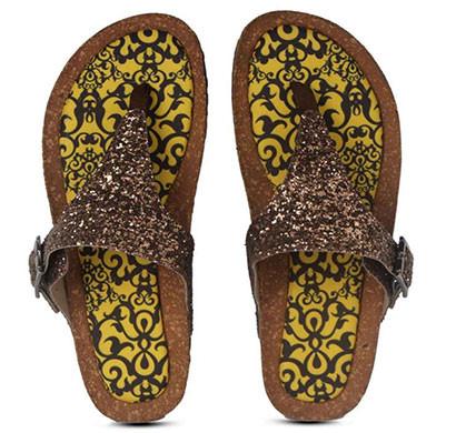 colour me mad bronze gitter, natural cork, women sandals (multi colour)
