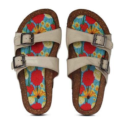 colour me mad cream plain, natural cork, women sandals (slider)