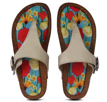 colour me mad natural cork, all weather, vegan, plain women sandals (multi colour)