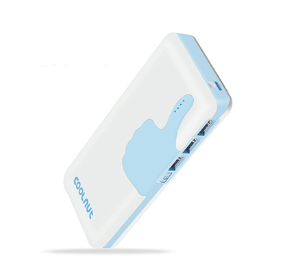 coolnut 10000 mah power bank for mobile with 3- usb ports - white