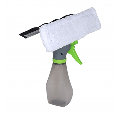 cosmosgalaxy (i3756-a) 3 in 1 spray bottle cleaning brush with glass cleaning wiper, white