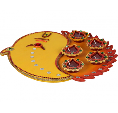 cosmosgalaxy i3280 handicraft decorative diwali diya pooja thali, brown and orange