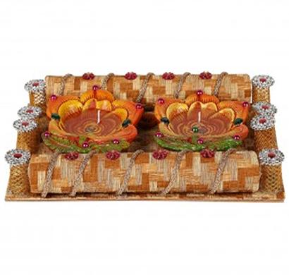 cosmosgalaxy i3281 handicraft decorative diwali diya pooja thali, brown