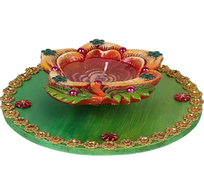 cosmosgalaxy i3286 handicraft thali terracotta table diya set, green and brown