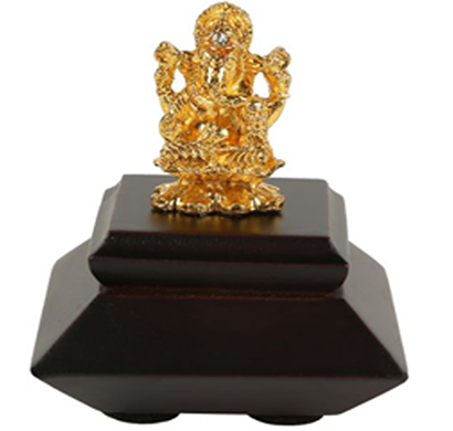 cosmosgalaxy i3129 decorative ganesha idol statue brown, golden