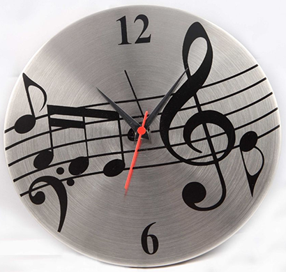 cosmosgalaxy i2842 musical note designer stainless steel black and silver round wall clock