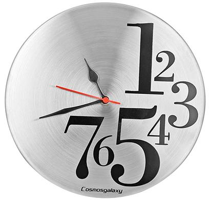 cosmosgalaxy i3375 1 to 7 designer stainless steel round wall clock,metallic