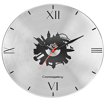 cosmosgalaxy i3462 london designer stainless steel round wall clock, silver black