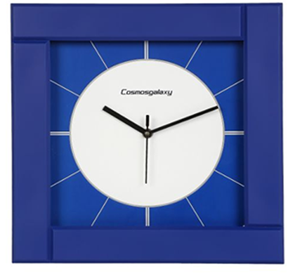 cosmosgalaxy i3468 zest designer square plastic wall clock, blue